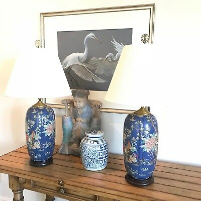 Vintage Pair Of Oriental Blue Jar Table Lamps Chinoiserie Painted Floral Bird