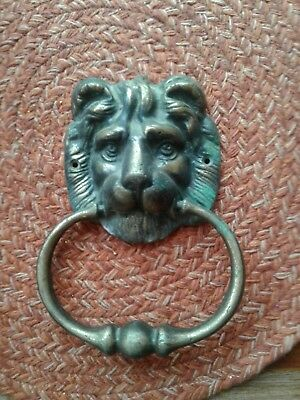 "Vintage Solid Brass Lion Head Door KNOCKER 7.5"" by 5"""