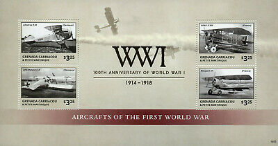 Grenada Grenadines 2014 MNH WWI 100th First World War Aircrafts 4v M/S Stamps