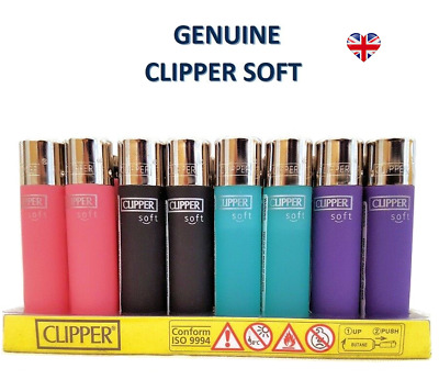 4x SOFT TOUCH CLIPPER LIGHTERS Gas Refillable Flint LIGHTER - GENUINE PRODUCT