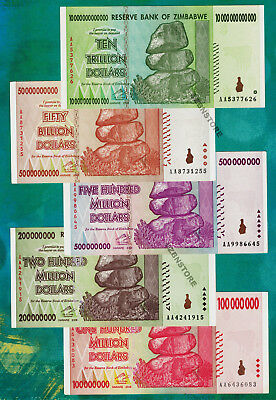10 Trillion, 50 Billion & 500 200 100 Million Zimbabwe Dollars Banknotes AA 2008