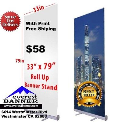 "Banner Roll Up Banner 33""x79"" Full Color With Free Print"