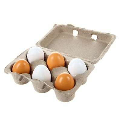 6x/Set Wooden Eggs Yolk Pretend Play Kitchen Food Cooking Kid Toy Xmas Gift S4F7
