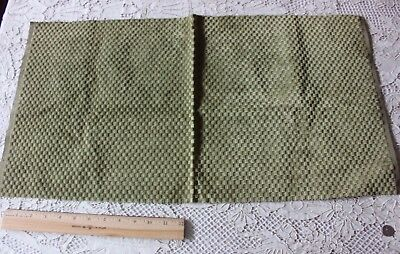 French Antique Green Cut Silk Woven Velvet Sample Fabric c1860-1870~Doll Scale