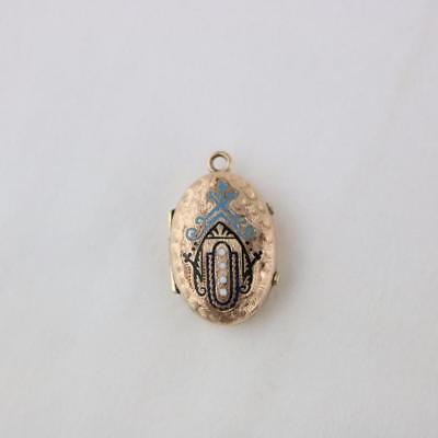 Antique Victorian Era Locket for Double Photos Enameled and Bright Cut