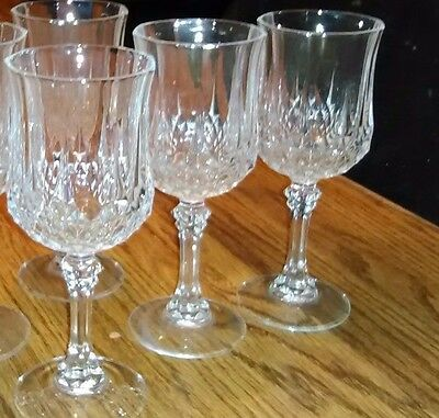 "(3) Longchamp by Cristal D'Arques Durand Water Goblets 7 1/4"" 25 cl 8 oz"