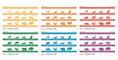 72 camindo artistamps - Nationalpark Tiere - Bär, Wolf, Luchs... Poster stamps