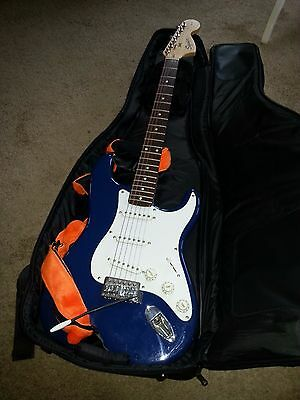 Squier Strat by Fender 20th Anniversary Blue Electric Guitar Rockbag Fluff Strap