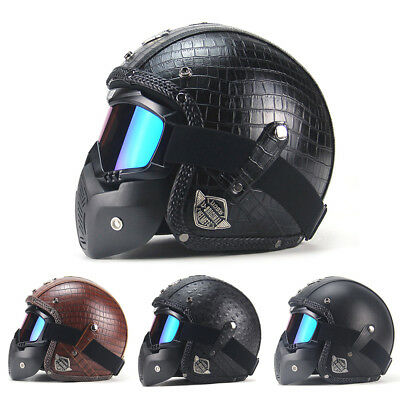 1pc Motor Vintage Leather Motorcycle Harley Helmets Open Face w/ Mask Durable