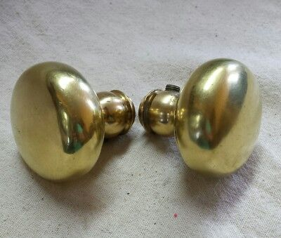 Pair Old Reclaimed Victorian Brass Door Knobs