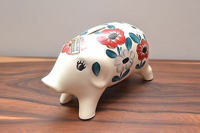 Mid Century Vintage Hand Painted Floral Ceramic Piggy Pank by Brixham Pottery