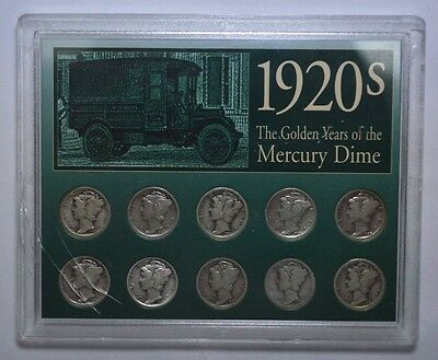 Key Date 1920s The Golden Years of the Mercury Dimes 10-Coin Sealed Pack, silver