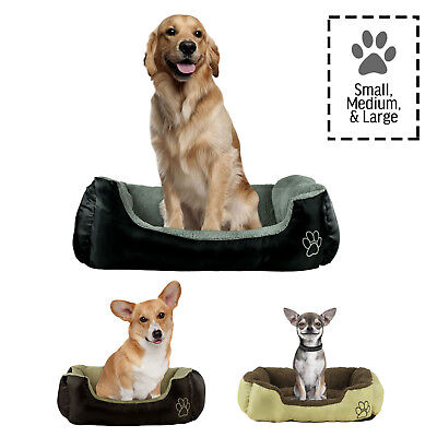 Dog or Cat Pet Bed Rectangle Plush Cuddler, Small, Medium or Large, 3 Colors