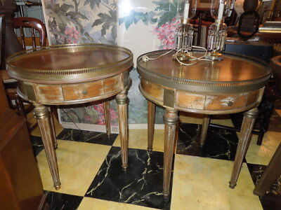 Pr. of Round French Style Tables, Regency, Directoire Style, 27.5H