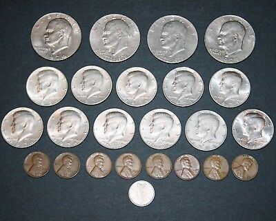 Coin LOT: (4) Eisenhower Ike $1 (11) Kennedy Silver Half Dollars (8) Wheat Penny