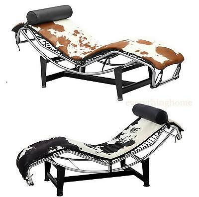 Pony (Cowhide) Lc4 Le Corbusier Style Chaise Brown & White Or Black And White