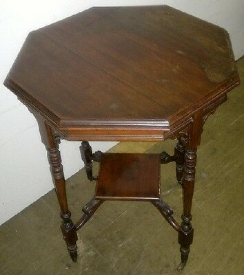 Antique Victorian Octagonal Occasional  Two Tier Side Table
