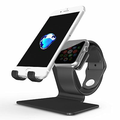Apple Watch Stand, OMOTON 2 in 1 Universal Desktop Cell Phone Stand and Apple