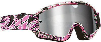 Fly Racing Zone Pro Goggles Adult Dirt Bike Motocross Pink, Chrome Lens