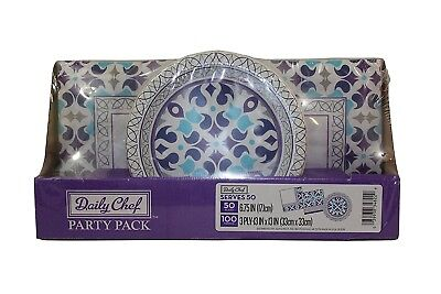 Daily Chef Raindrops Party Pack with 50 Plates & 100 Napkins, Purple/Multi