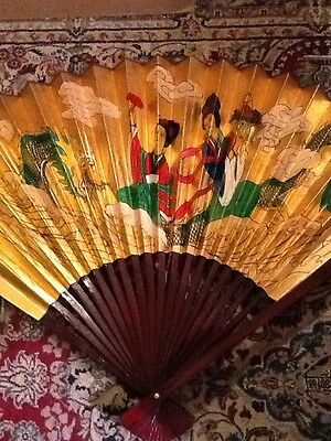 Large Chinese Fan Hand painted Gold With Water Dragon And 2 Ladies In A Boat