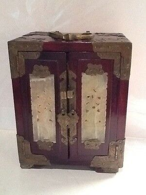 Vintage Antique Reddish Brown Wood And Brass Chinese Jewelry Box With 3 Drawers
