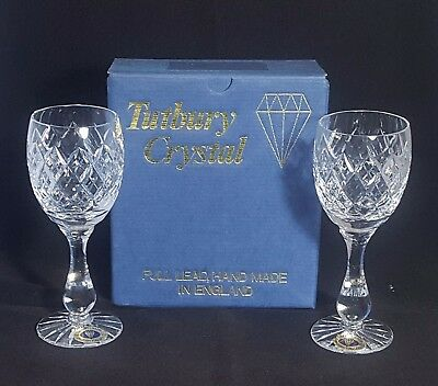 Beautiful Pair of Quality Hand Made Tutbury Crystal Wine Glasses  (BOXED)