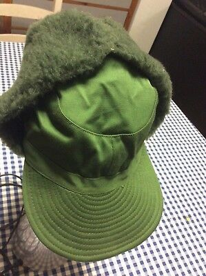 Swedish Army Green Cold Weather / Dog / Trapper Hat size 56 Small Surplus