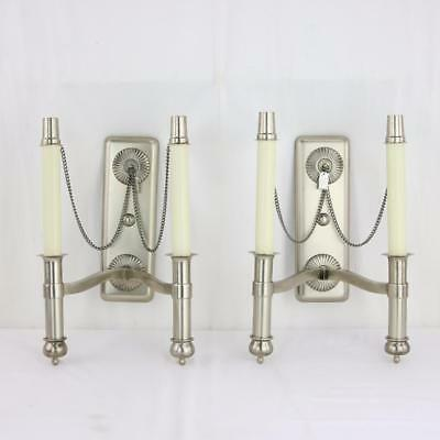 Pair Brushed Nickel Spanish Sconces Made in Spain VTG 1970s 2-Light Designer