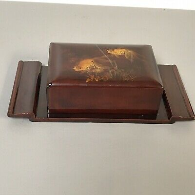 Vintage Japanese Lacquered Cigarette Dispenser With Goldfish Decoration