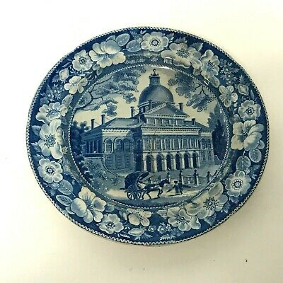 Antique English Staffordshire Blue Plate Circa 1830's State House