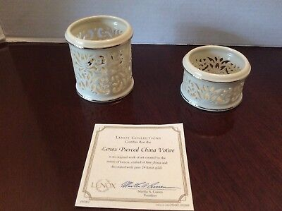 Two Lenox Pierced China Votives Candle Holders Tea Lights Cream New Without Box
