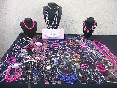 Big Lot Of Vintage/now Costume Jewelry Pretty Shades Of Pinks & Purples128 Piece