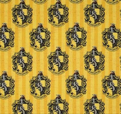 Harry Potter House Crest Hufflepuff Cotton Quilting Fabric 1/2 YARD