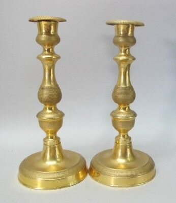 "Fine Pair of ANTIQUE FRENCH EMPIRE 9"" Dore Gilt Bronze Candleholders  c. 1870"