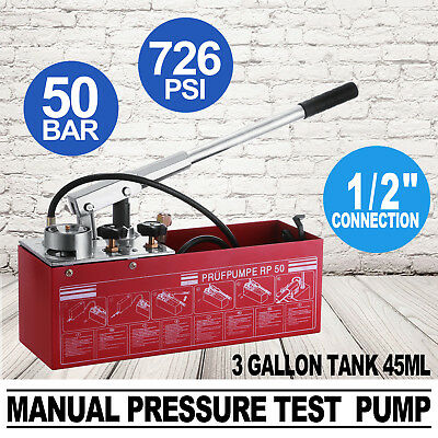 "Hydraulic Pressure Test Pump 50Bar Hand Pump Manual 800psi 1/2"" Connection RP-50"