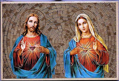 "Sacred Heart of Jesus & Immaculate Heart Mary Gold Foil Mosaic Plaque (6"" x 4"")"