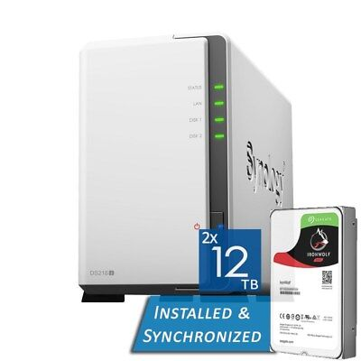 Synology DiskStation DS218j 2 Bays NAS + 24TB 2x Seagate 12TB ST12000VN0007