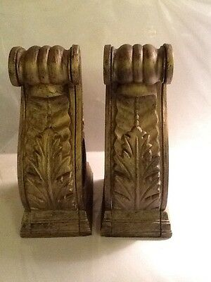 Set Of 2 Ornate Antique Gold Painted Curtain Tapestry Rod Holders Metal Iron