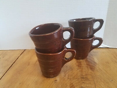 4 Vintage Marcrest Daisy Dot Brown Stoneware Coffee Cups Mugs  Western USA
