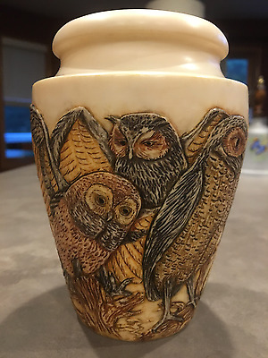 "Harmony Kingdom Night Watch Multi Owl Vase 5.5"" 2003 Jardinia"
