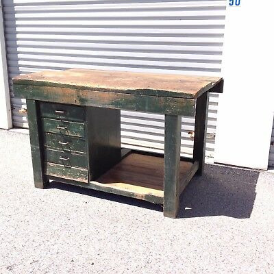 Vintage Rustic Wooden Work Bench