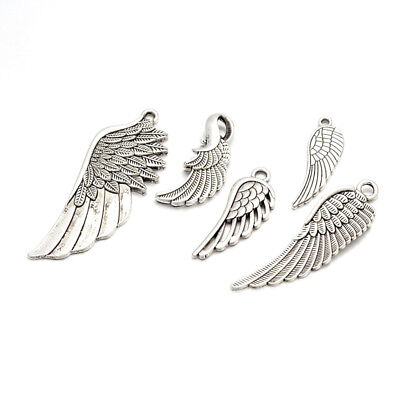 100g Assorted Tibetan Alloy Wing Pendants Antique Silver Dangle Charms 24~56mm
