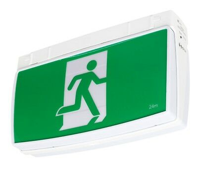Emergency Exit Sign Light LED Ceiling Mount Running Man Double Sided Pro Battery