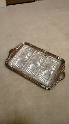 Silver plated antique serving tray with glass insert dishes