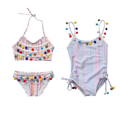 AU Striped Toddler Kids Girl Swimwear Swimsuit Bikini Set Swimmer Bather Clothes