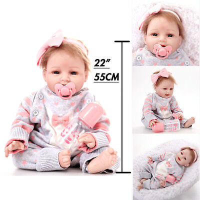"New Newborn Reborn  Baby Girl 22"" Lifelike Doll Vinyl Silicon Toy Christmas Gift"
