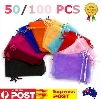 50/100pcs Organza Wedding Party Favour Jewellery Packing Pouches Candy Gift Bags