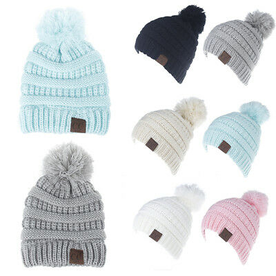 US Stock Kid Winter Warm CC Beanie Hat Infant Toddler Crochet Hairball Knit Cap