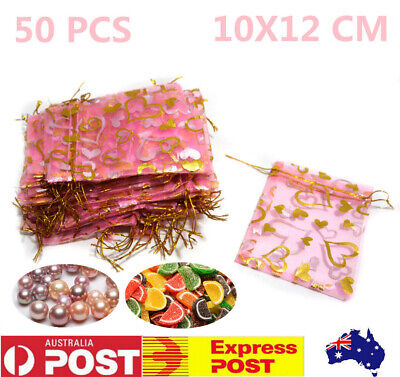 50pcs Pink Organza Bags  Jewellery Packing Pouch Bags Wedding Gift Bag 10x12cm